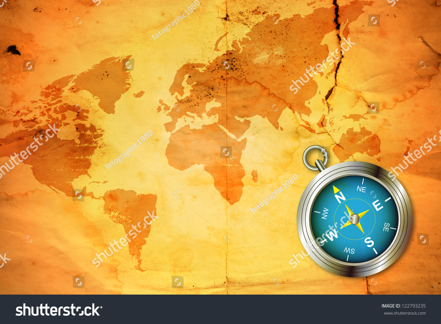 world map with compass, old compass on world map wallpaper wall