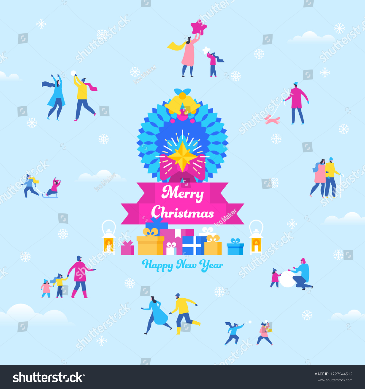 merry christmas and happy new year greeting card with small characters of family couple