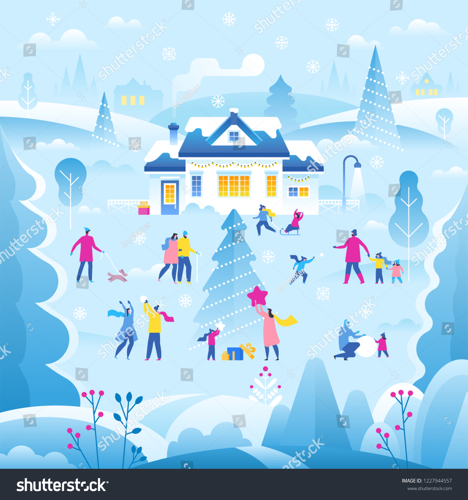 merry christmas and happy new year greeting card and banner winter landscape with house and