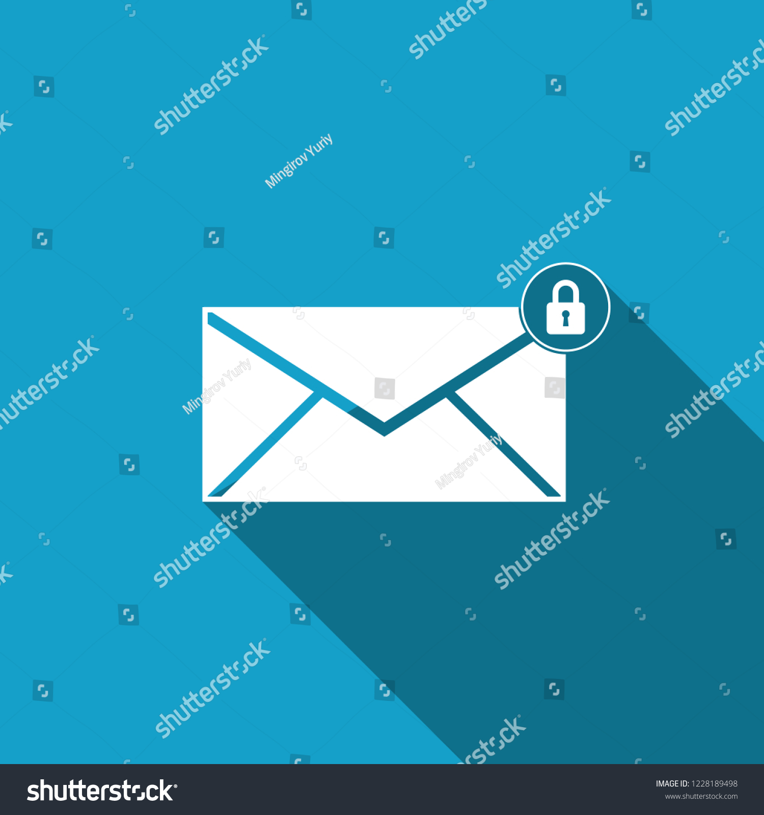 Email Message Lock Password Icon Isolated Stock Vector (Royalty Free