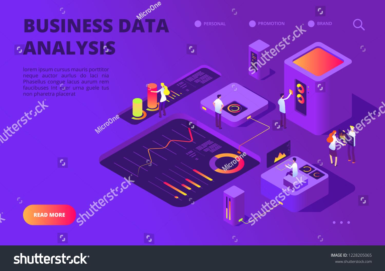 Data Analysis Isometric Concept People Work Stock Vector