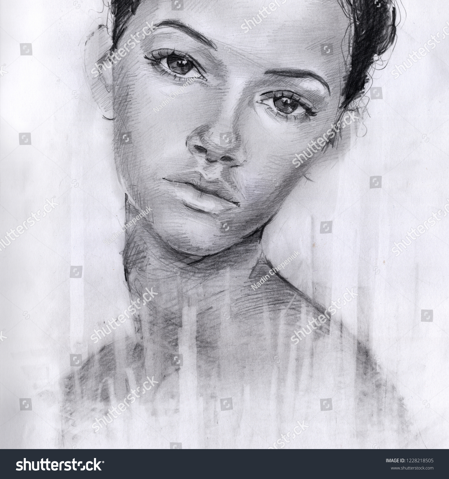 Portrait of a girl in pencil sketch