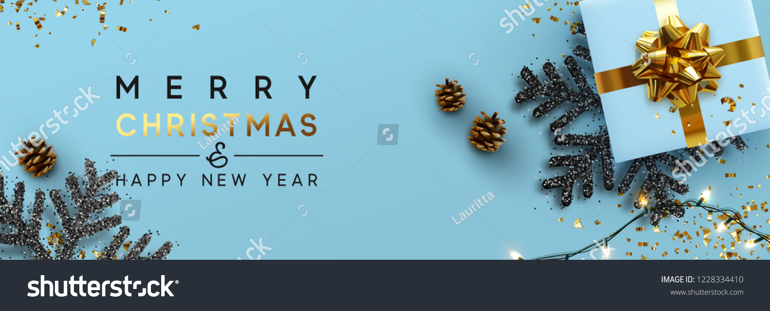 Christmas banner. Background Xmas design of sparkling lights garland, with realistic gifts box, black snowflake and glitter gold confetti. Horizontal christmas poster, greeting cards, headers, website #1228334410