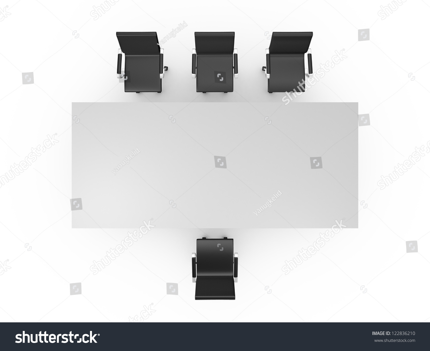Conference Table Black Office Chairs Meeting Stock Illustration