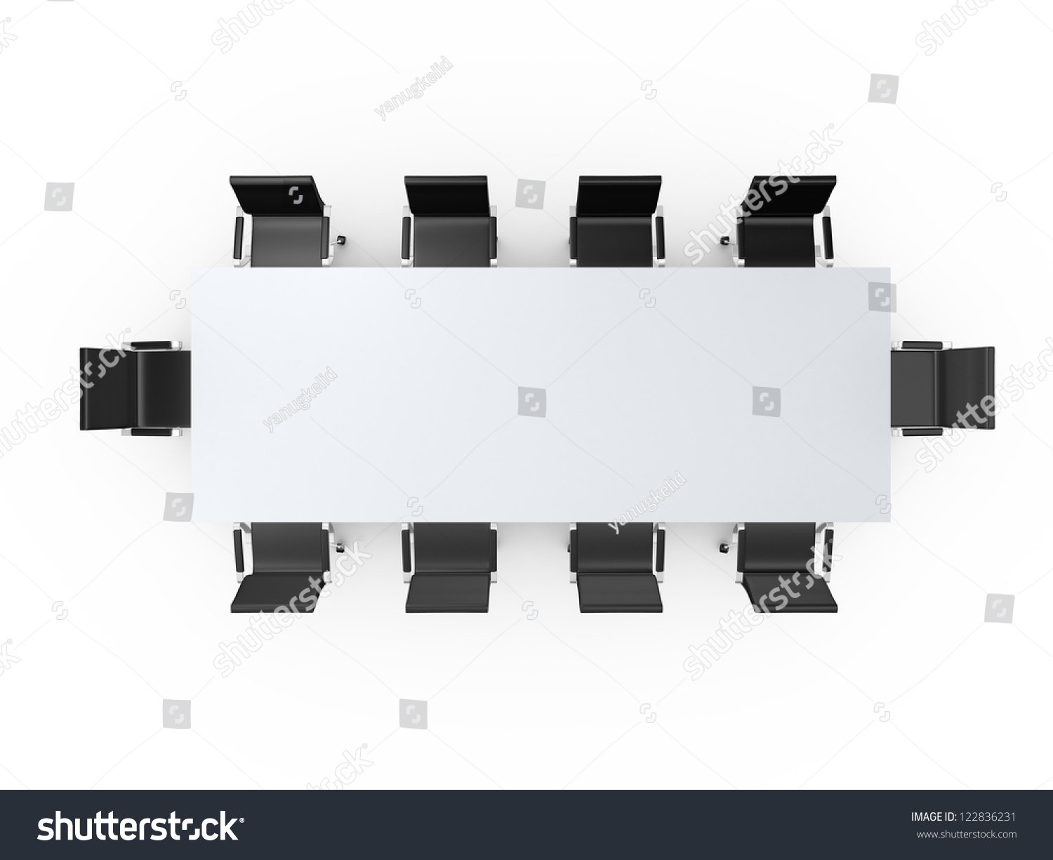 Table and chairs top view - Conference Table And Black Office Chairs In Meeting Room Top View Isolated On White