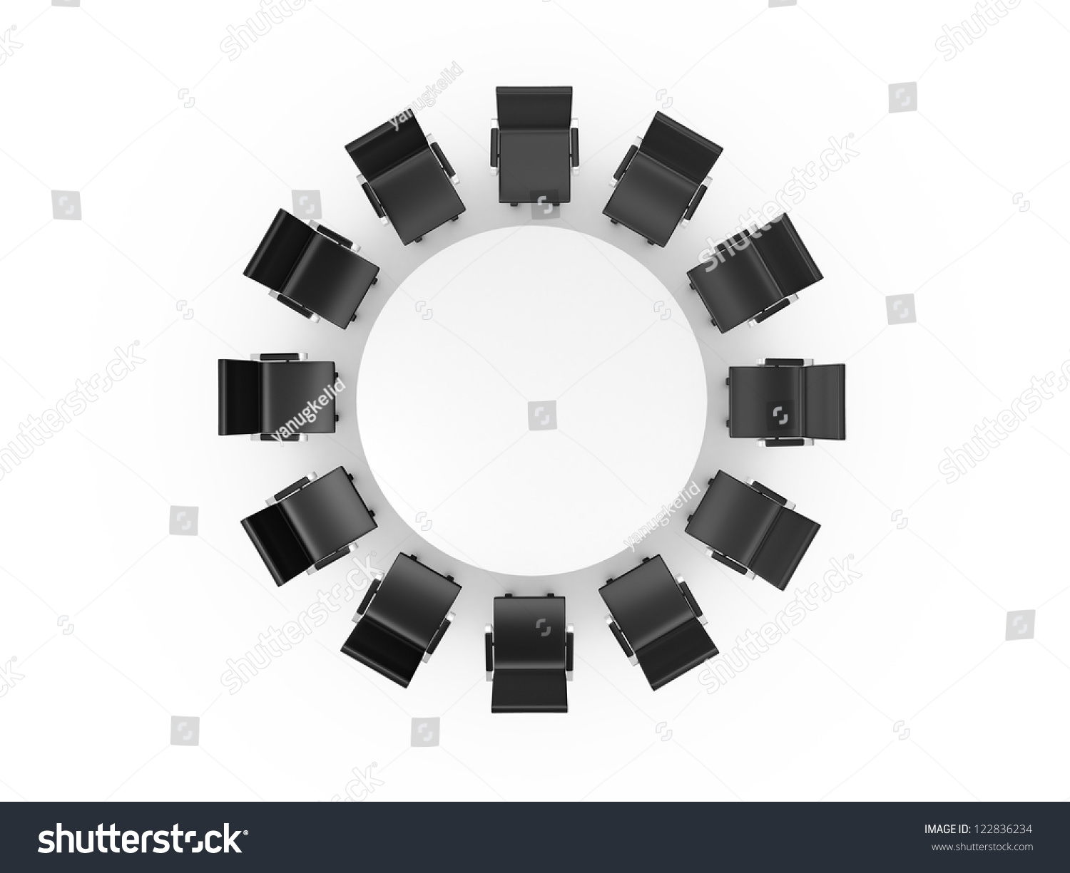 Round Table And Black Office Chairs In Meeting Room Top View