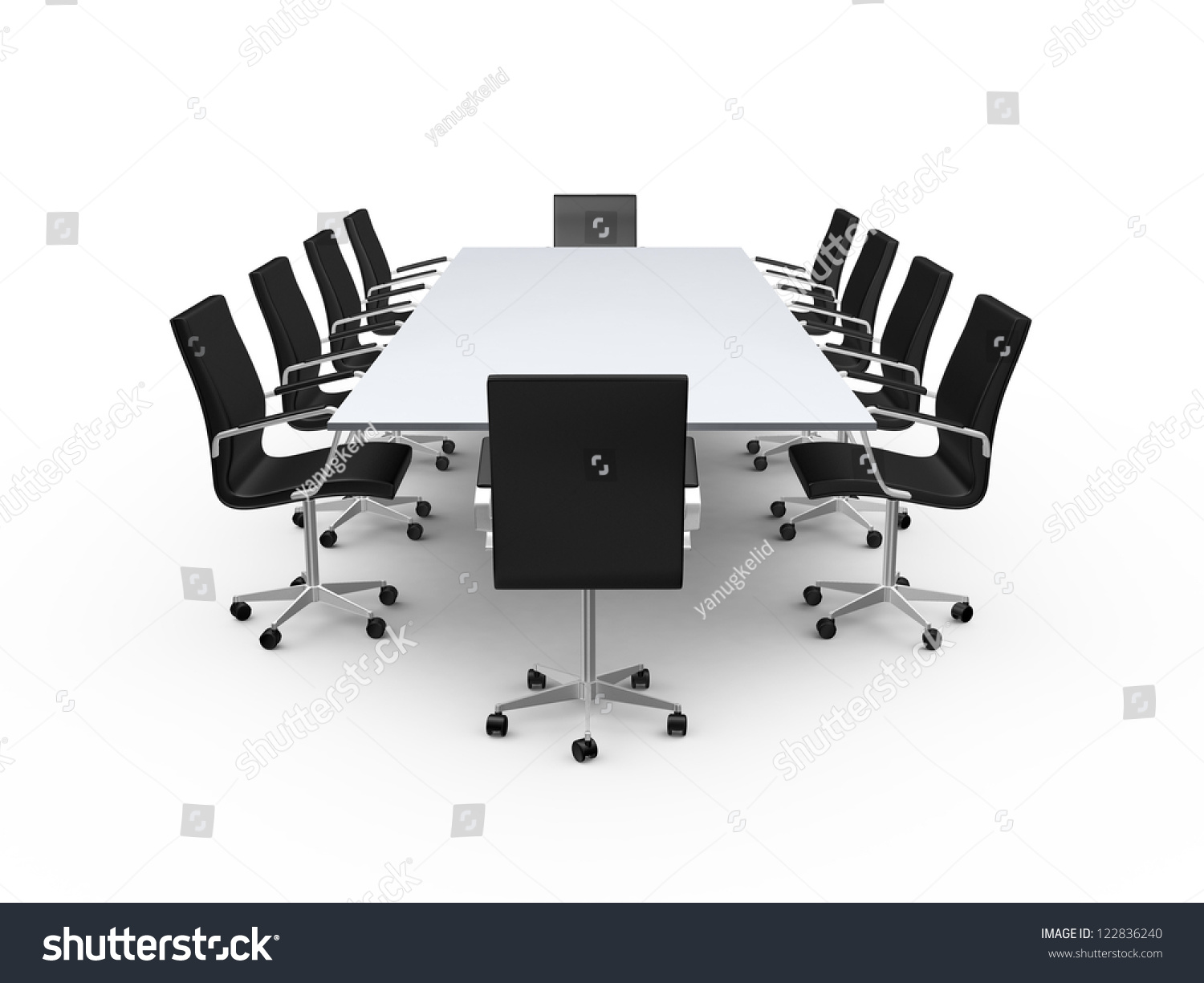 Conference Table And Black Office Chairs In Meeting Room Isolated On White Background