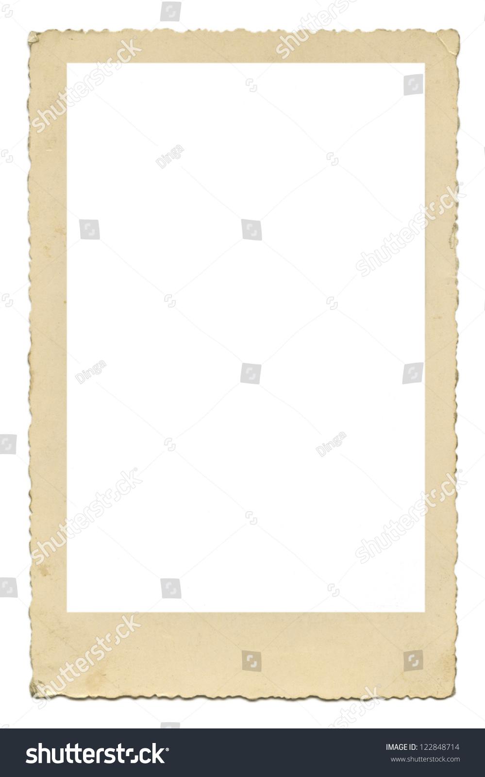 Blank Old Photo Frame Figured Edges Stock Photo 122848714