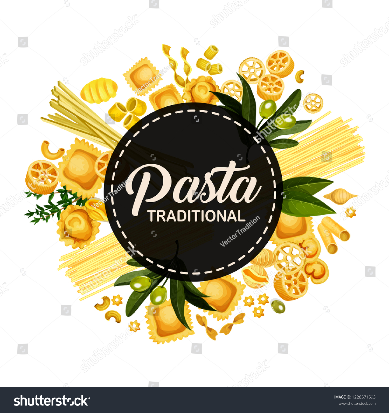 italian pasta menu cover design italy stock vector (royalty free