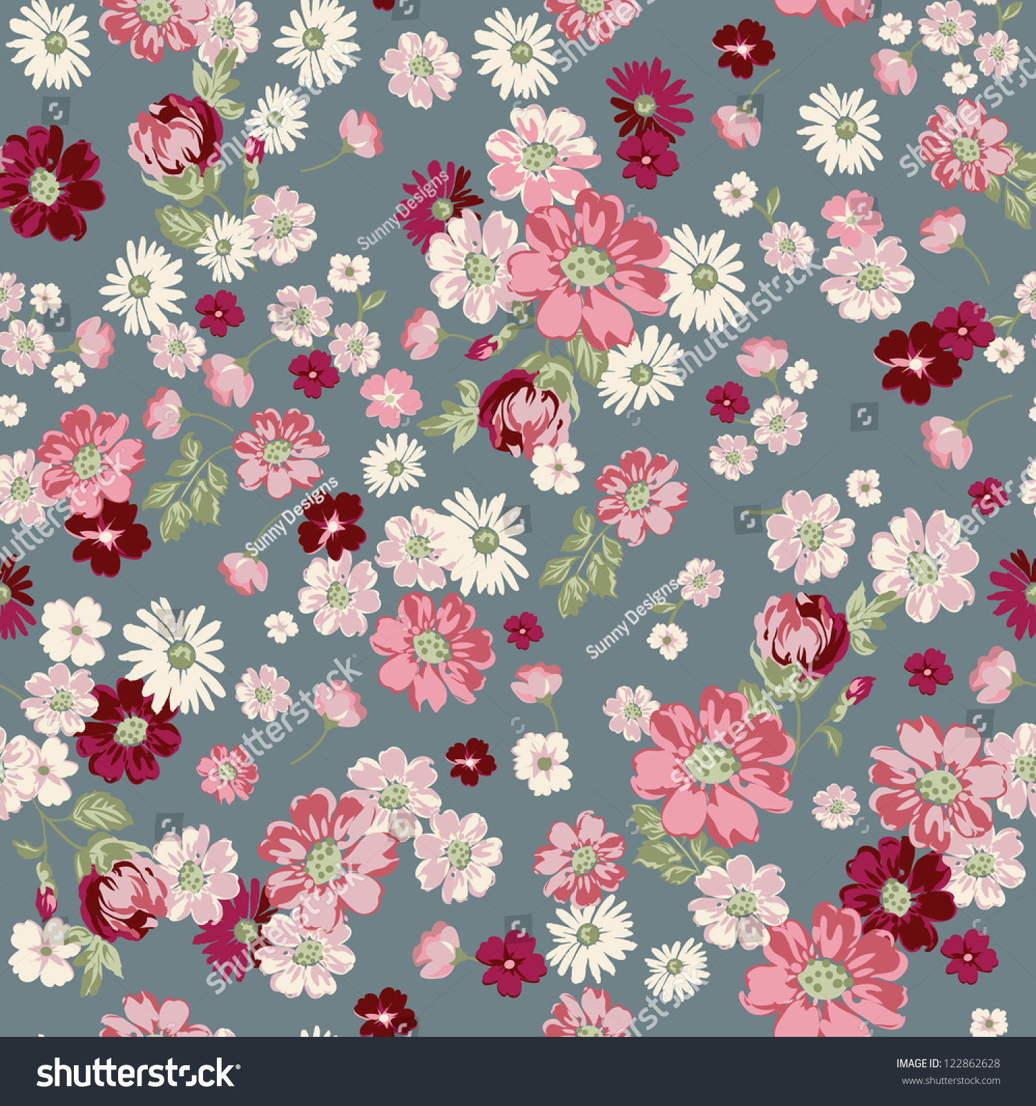 2015 Ditsy Floral Design: Seamless Vintage Floral Ditsy Background Stock Vector
