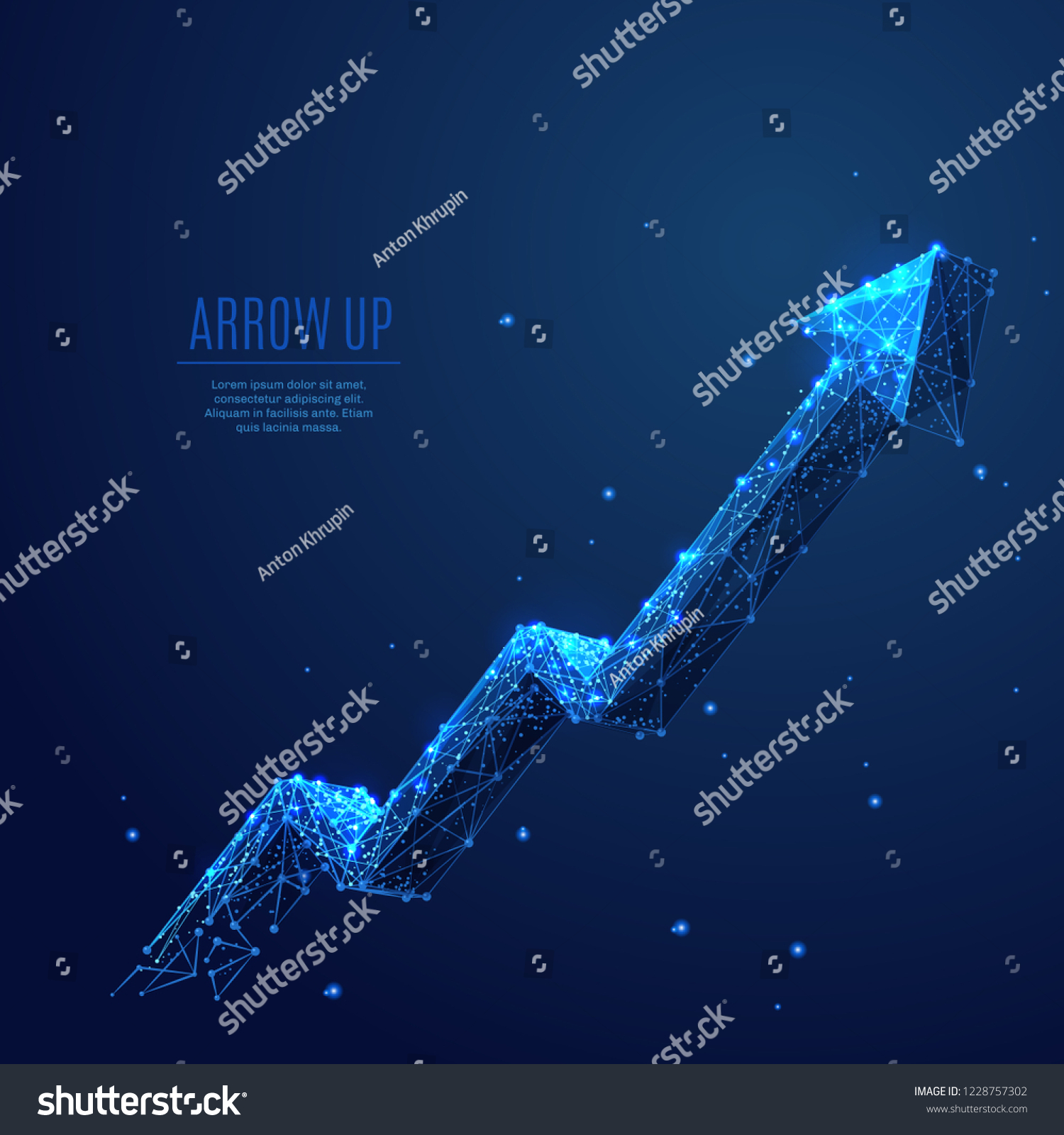 An arrow Up composed of polygons. Low poly vector illustration of a starry sky or Comos style. A growth symbol consists of lines, dots and shapes. Business strategy or successful symbol.