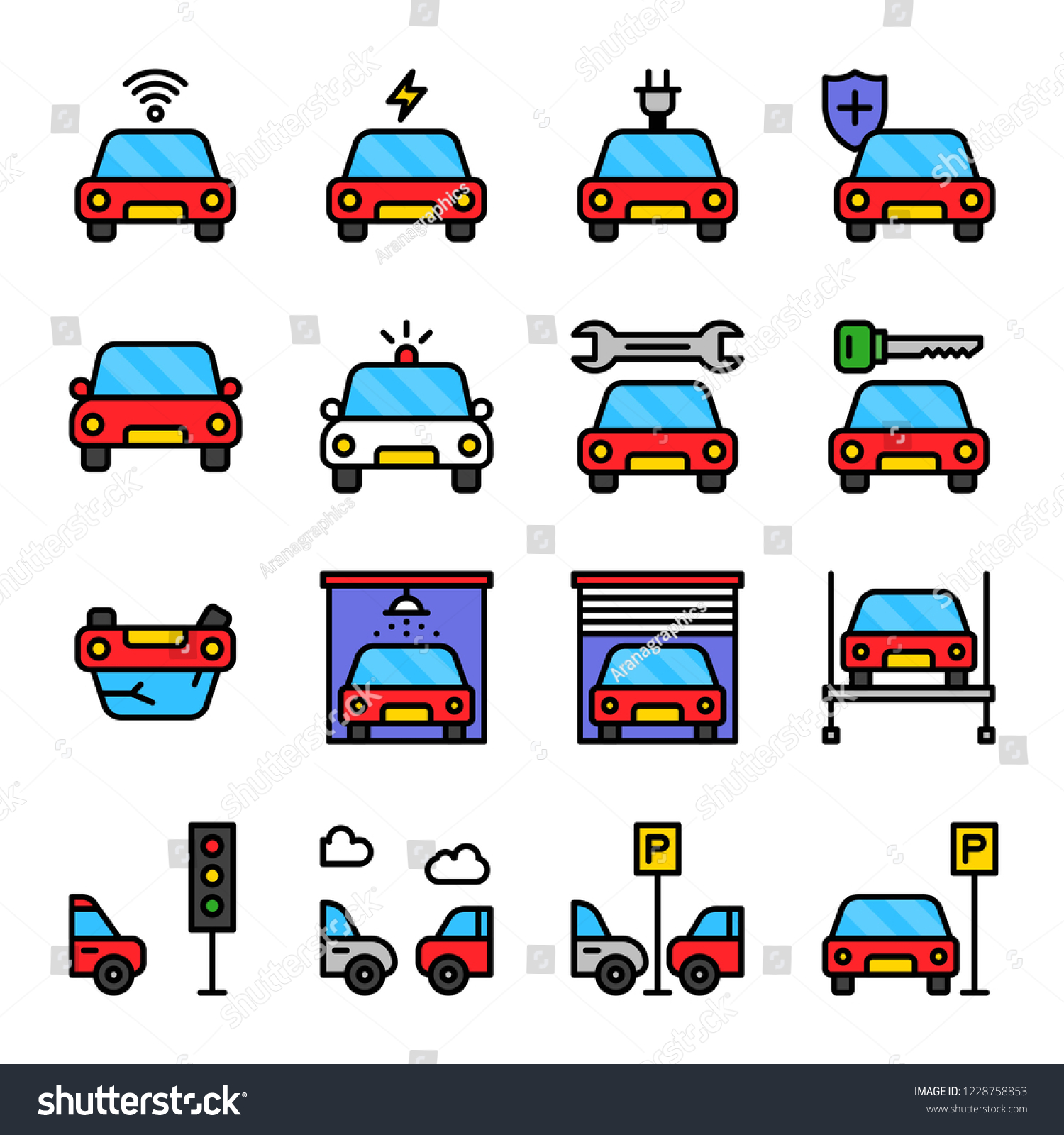 Set Cars Related Filled Outline Icon Stock Vector (Royalty Free