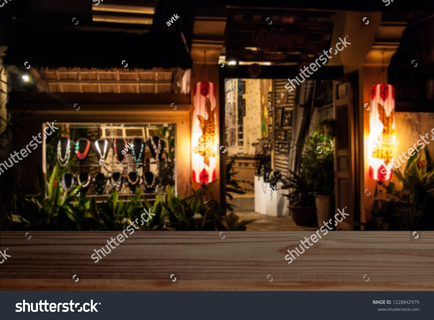 Empty Dark Tabletop On Night Store Stock Photo Edit Now 1228842979