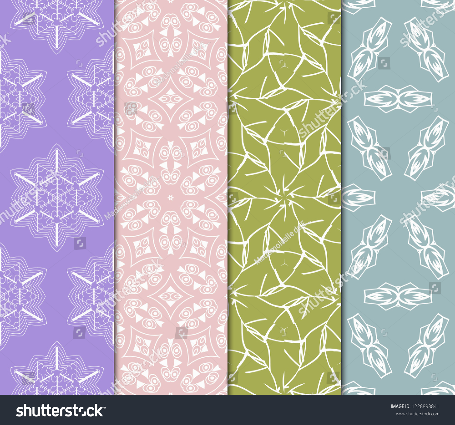 Set Of Floral Ornament. Seamless Vector Pattern. Interior Decoration, Wallpaper, Invitation, Fashion Design #1228893841
