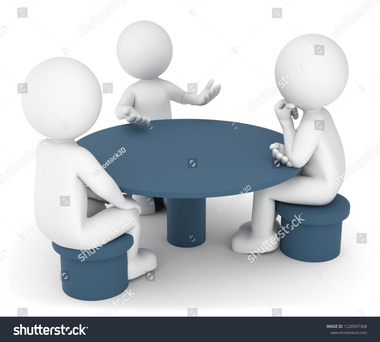 3D Illustration Weiße Männchen Gespräch Am Runden Tisch