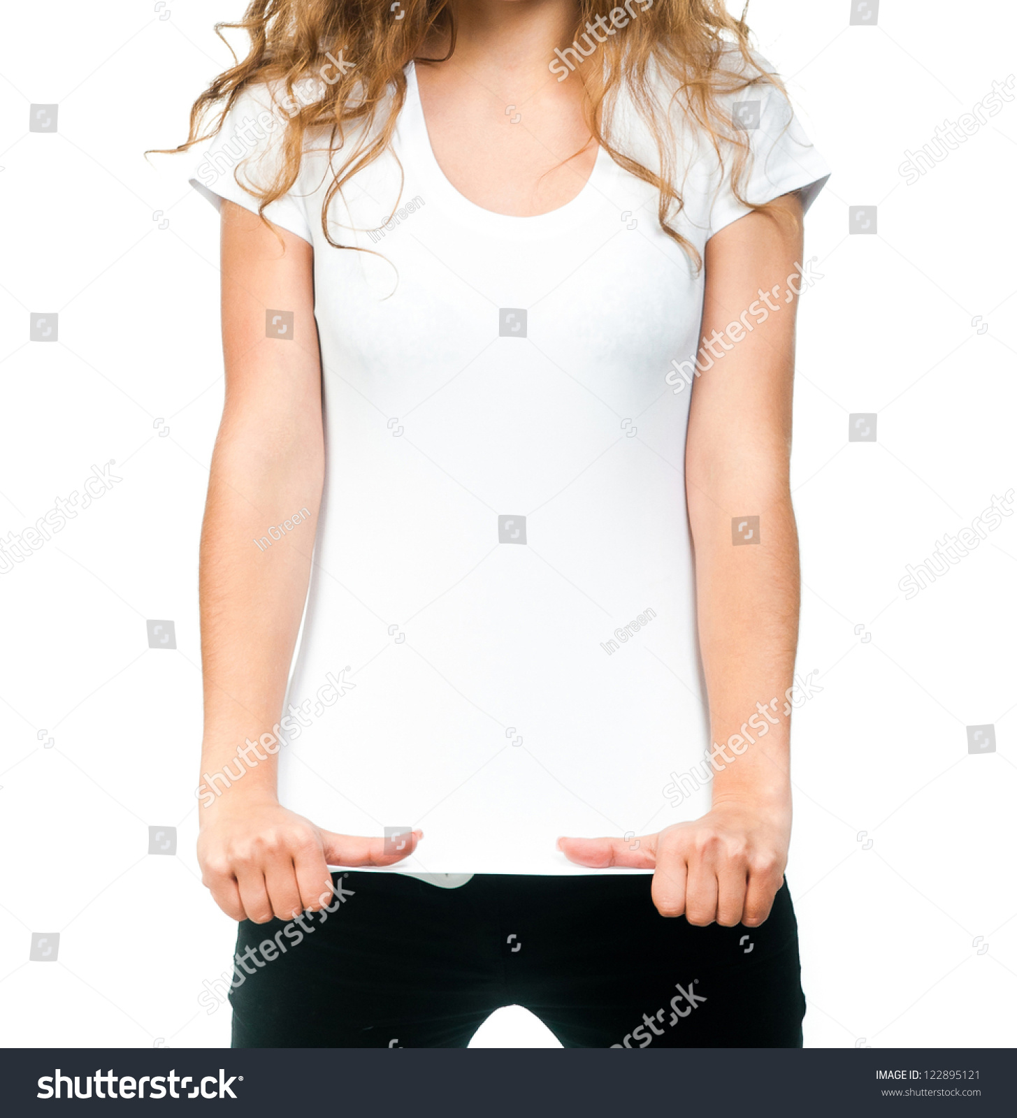 Young Beautiful Women Posing Blank White Stock Photo 122895121 ...
