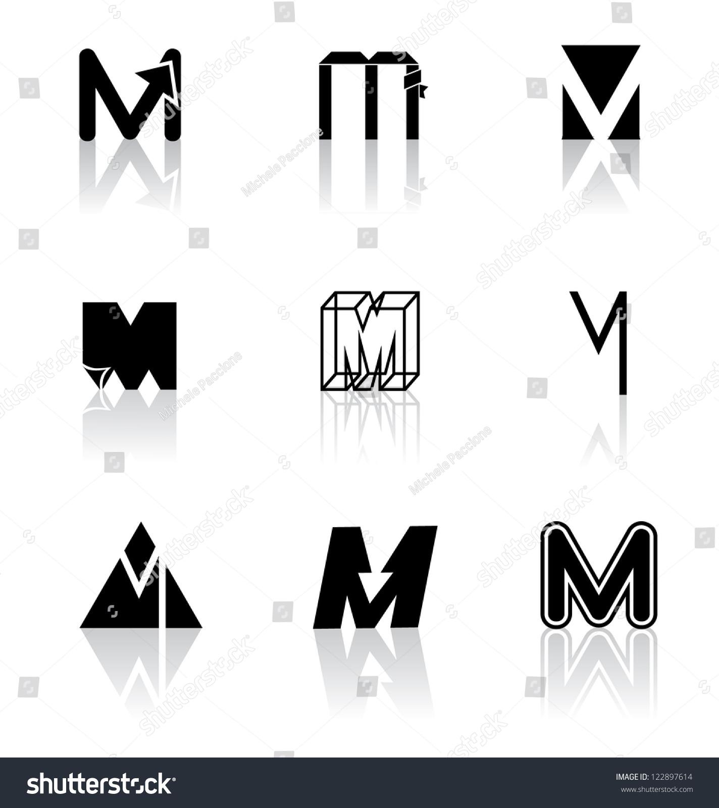 Black White Icon Symbol Set Letter Stock Illustration