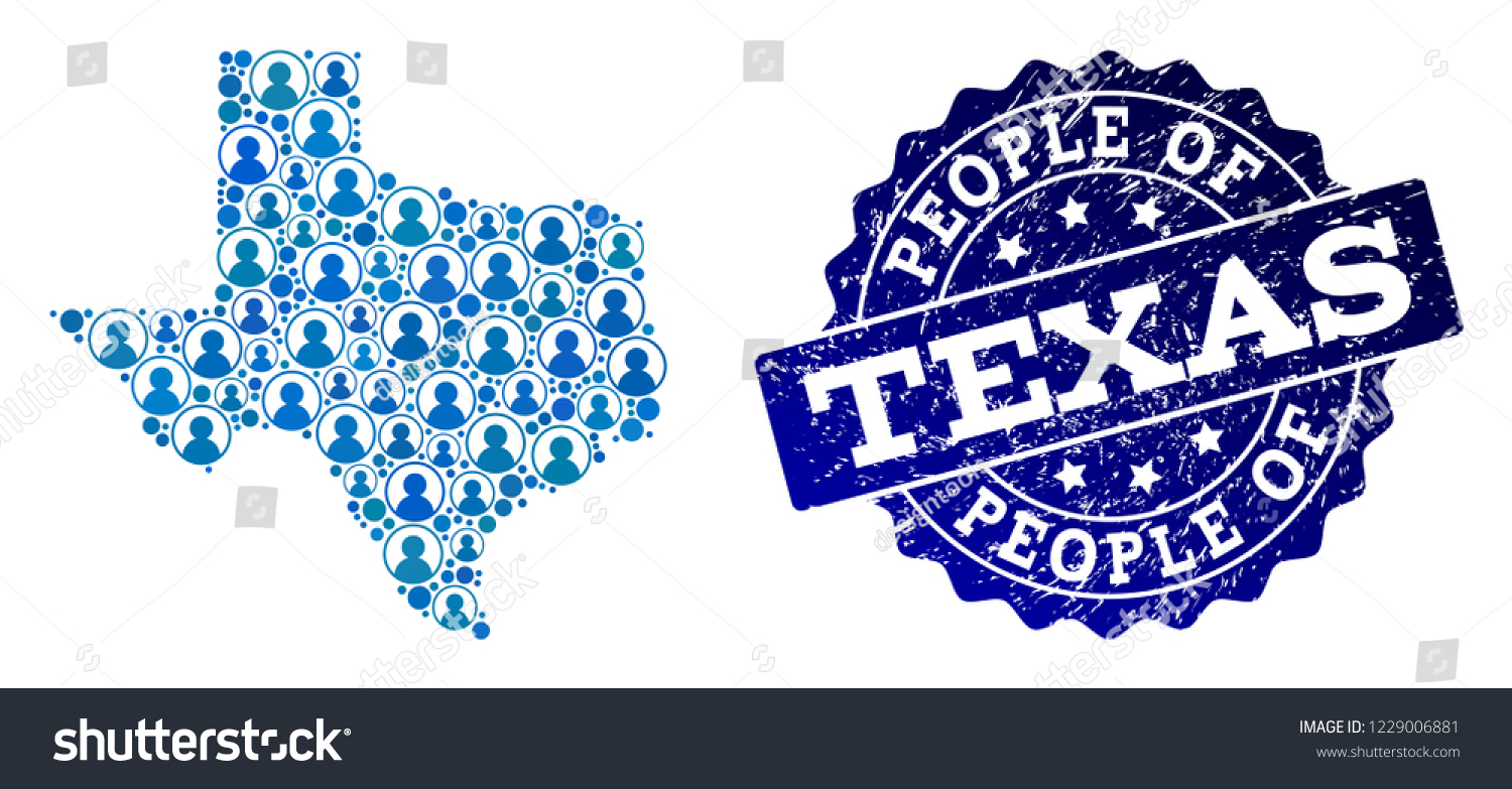 Population Map Of Texas.People Combination Blue Population Map Texas Stock Vector Royalty