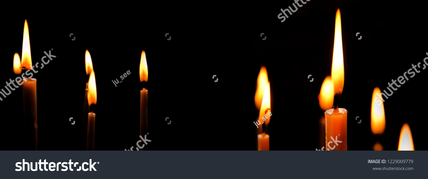 Burning Church Candles Black Background Candle Stock Photo (Edit Now