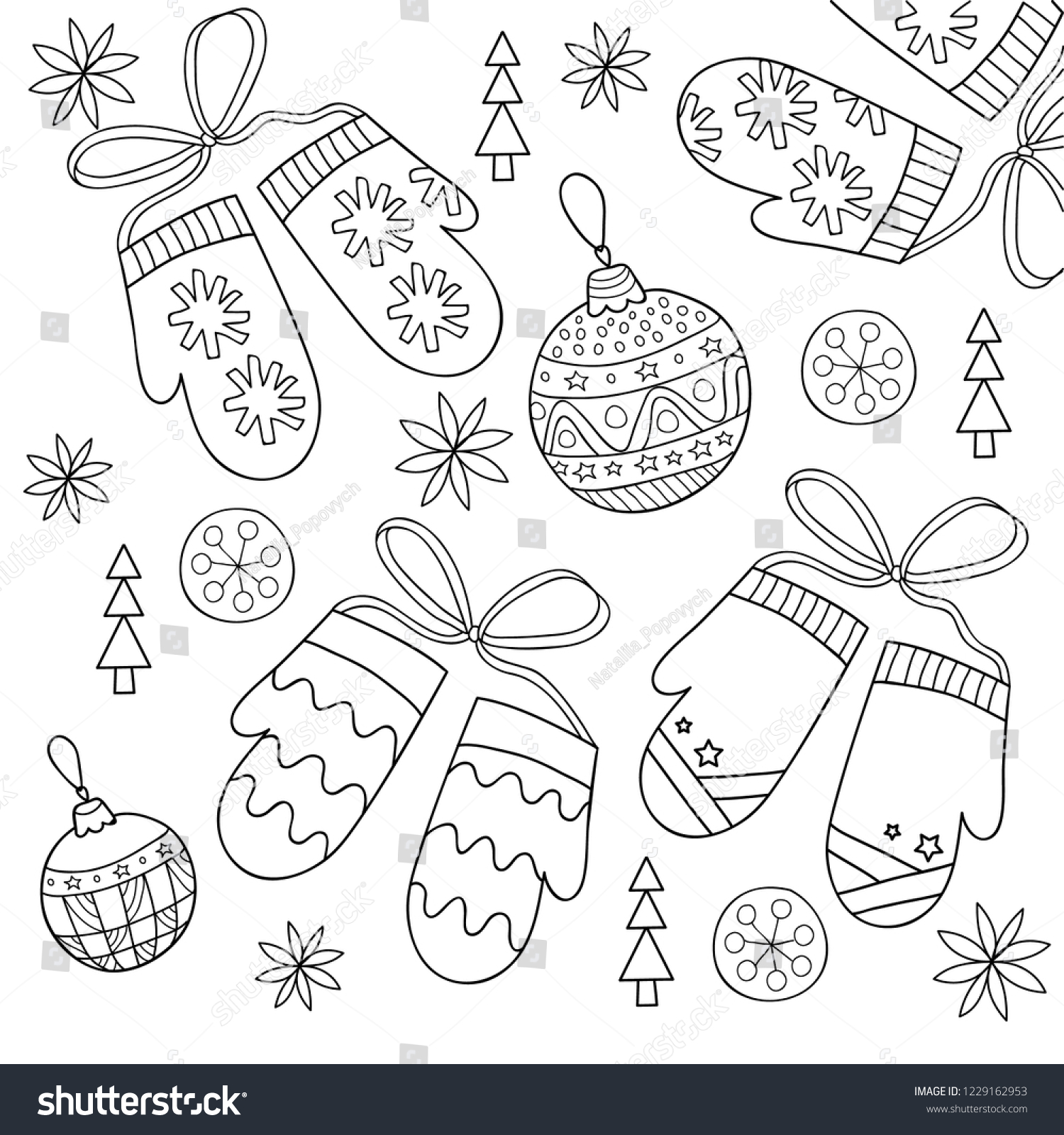 stock vector christmas coloring page with winter mittens snowflakes balls kids outline vector illustration