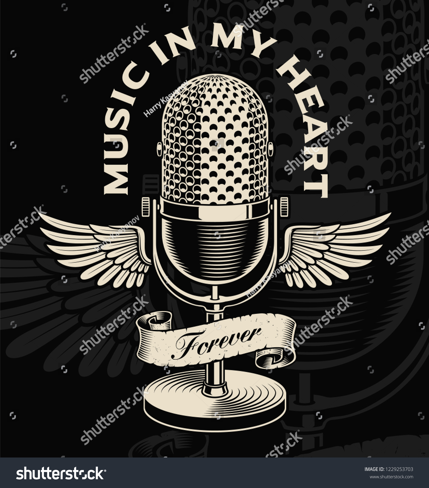 Vintage Microphone Wings Ribbon Tattoo Style Stock Vector Royalty Free 1229253703