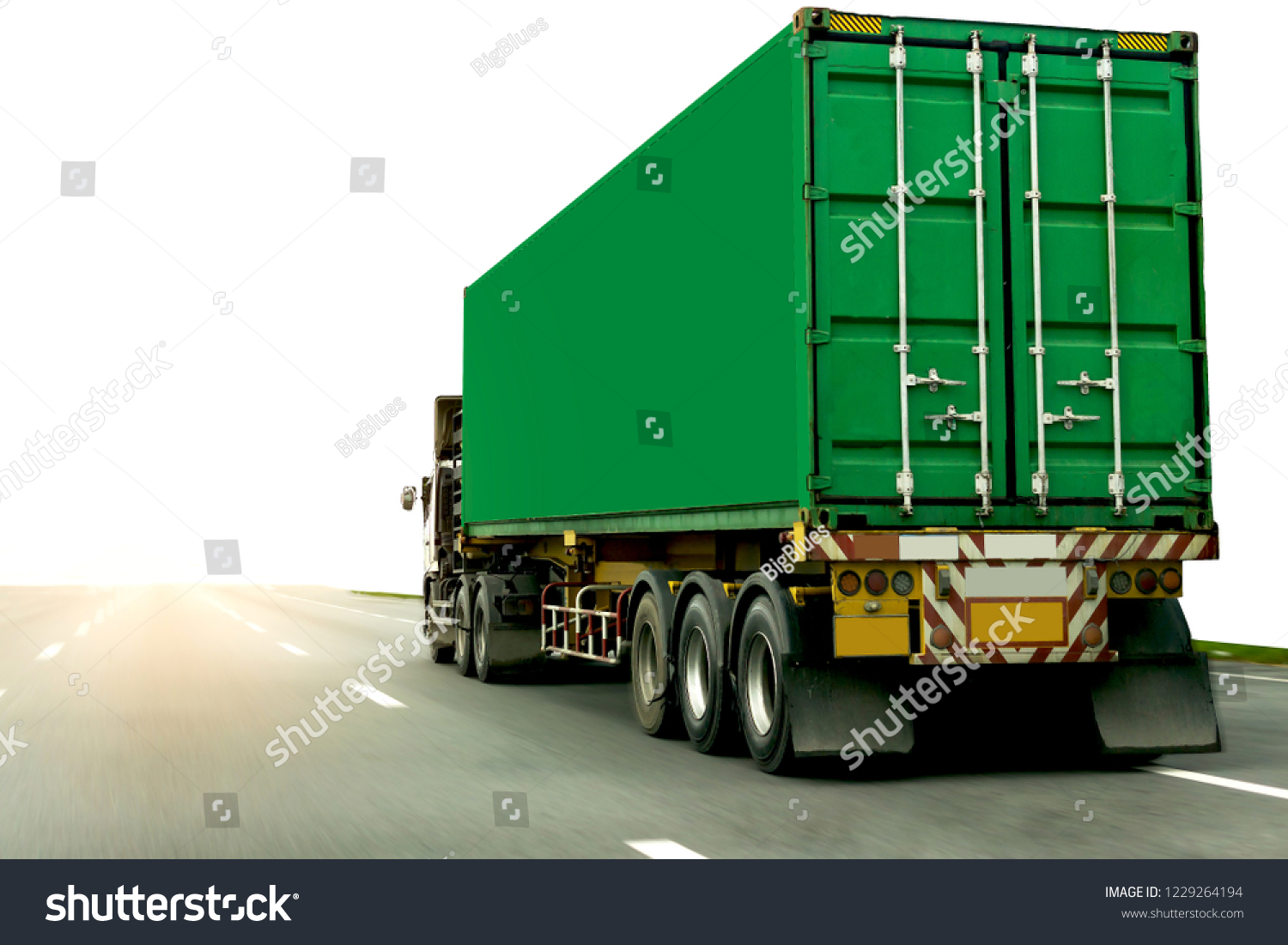 Truck on highway road with green container, transportation concept.,import,export logistic industrial Transporting Land transport on the expressway #1229264194