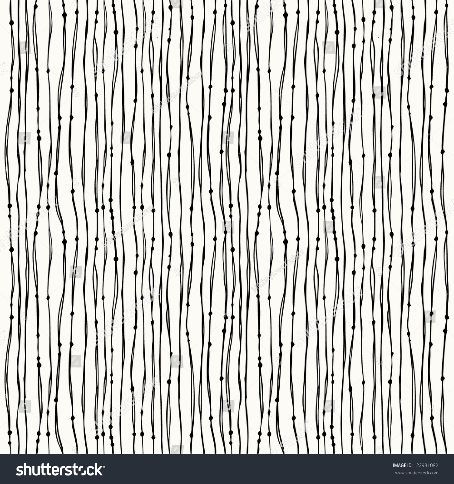 Seamless Black White Abstract Hand Drawn Stock Vector