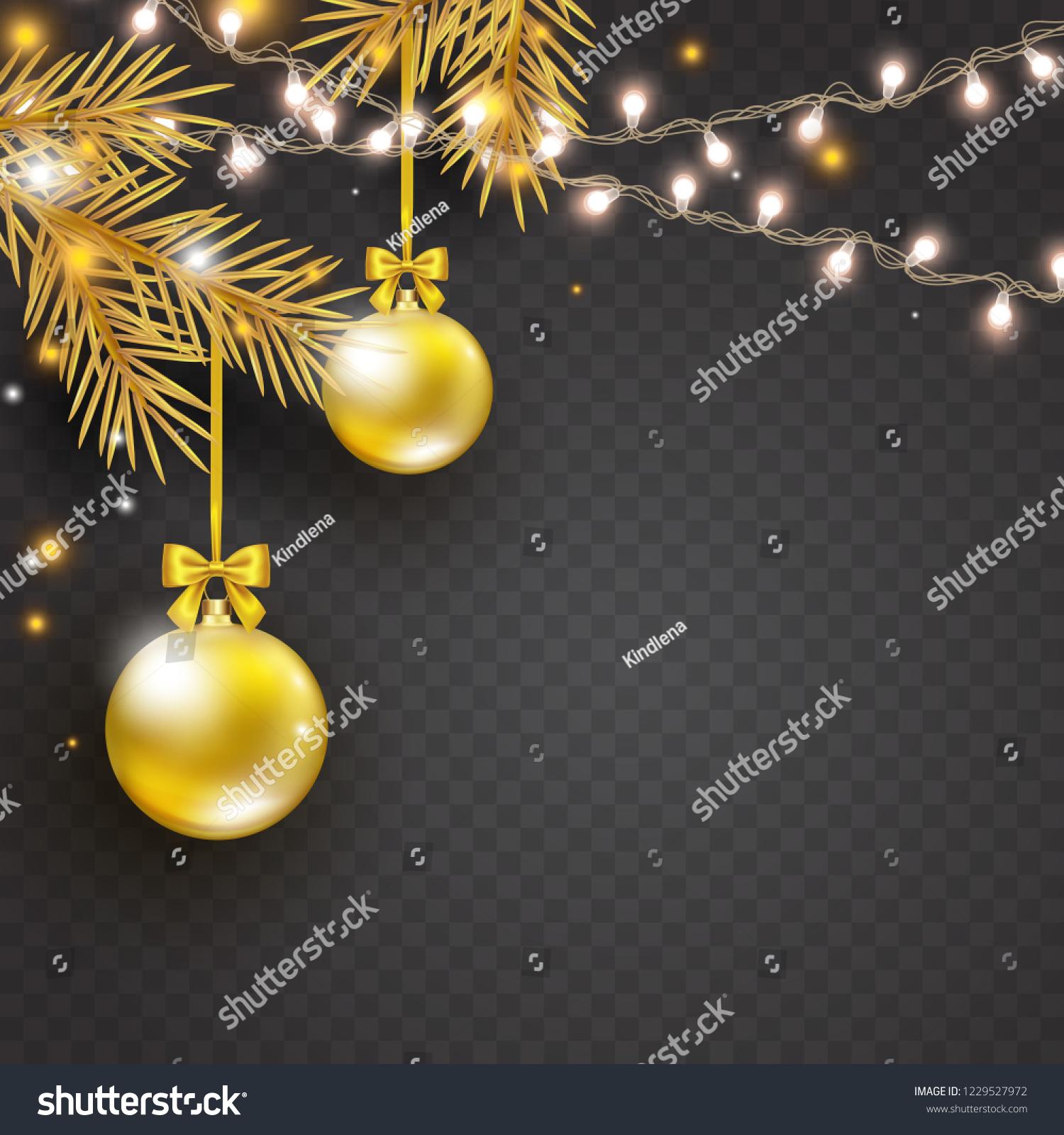 Christmas Lights Gold Christmas Tree Golden Stock Vector Royalty