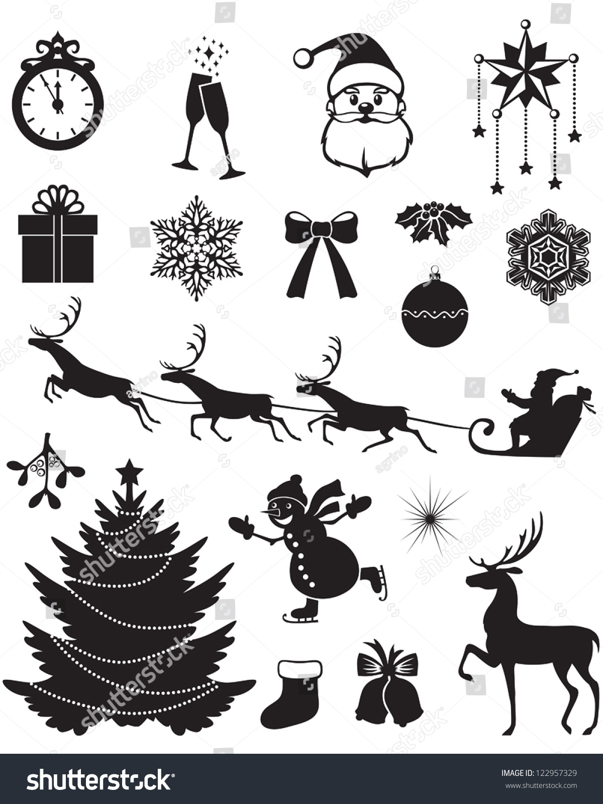 Christmas Silhouettes Santa Reindeer Fir Snowman Stock Vector ...