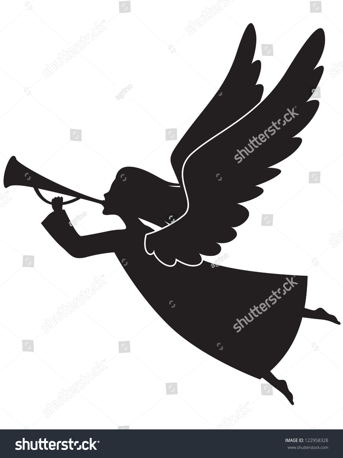 Silhouette of a christmas angel blowing a trumpet stock vector