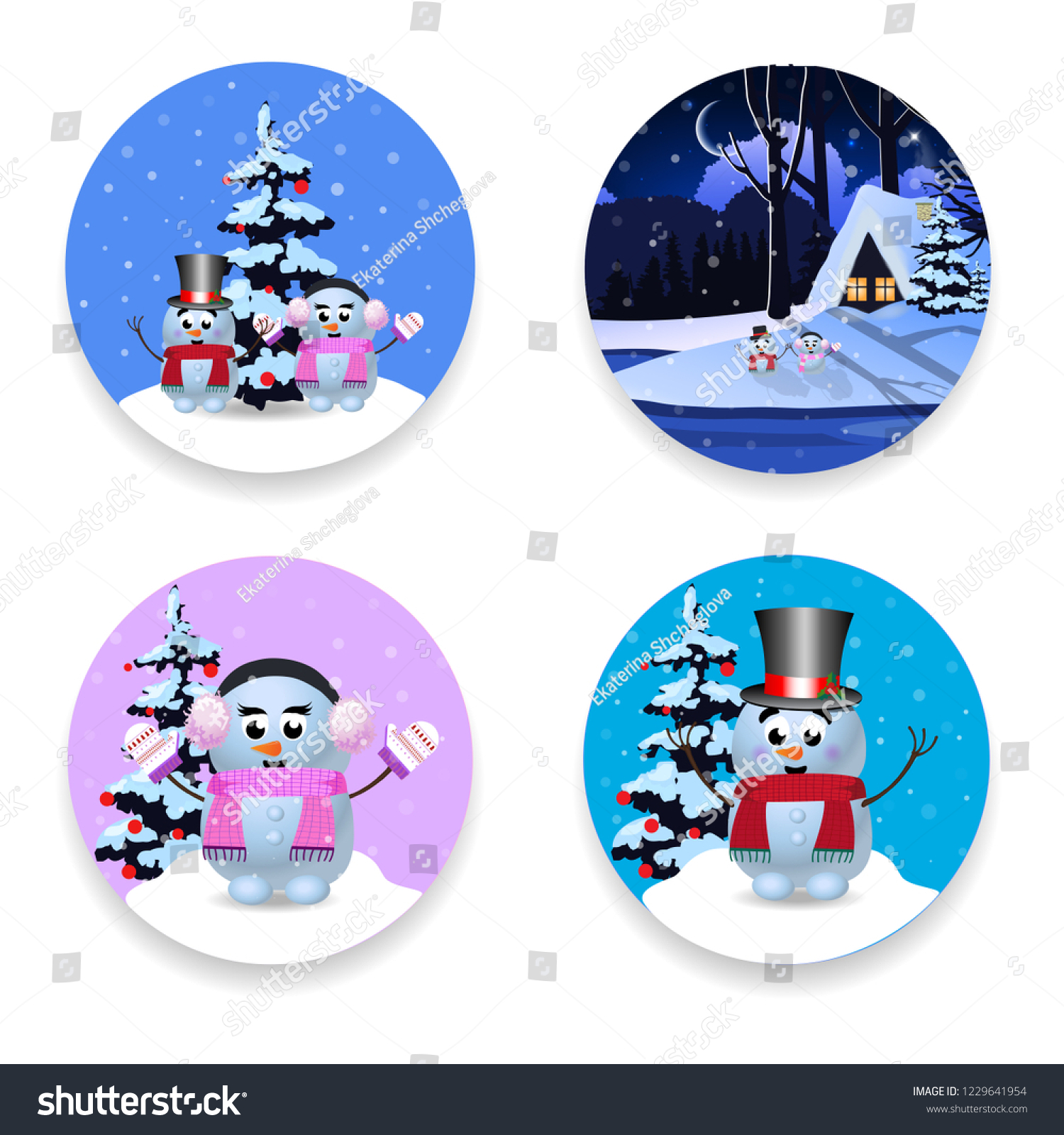 christmas new year round signs set with cute cartoon characters snowman winter house and