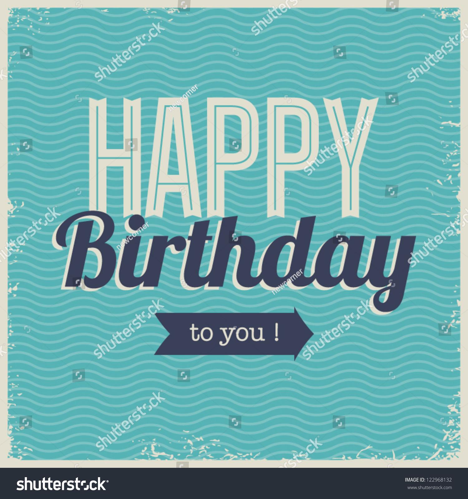 vintage retro happy birthday card fonts stock vector, Birthday card