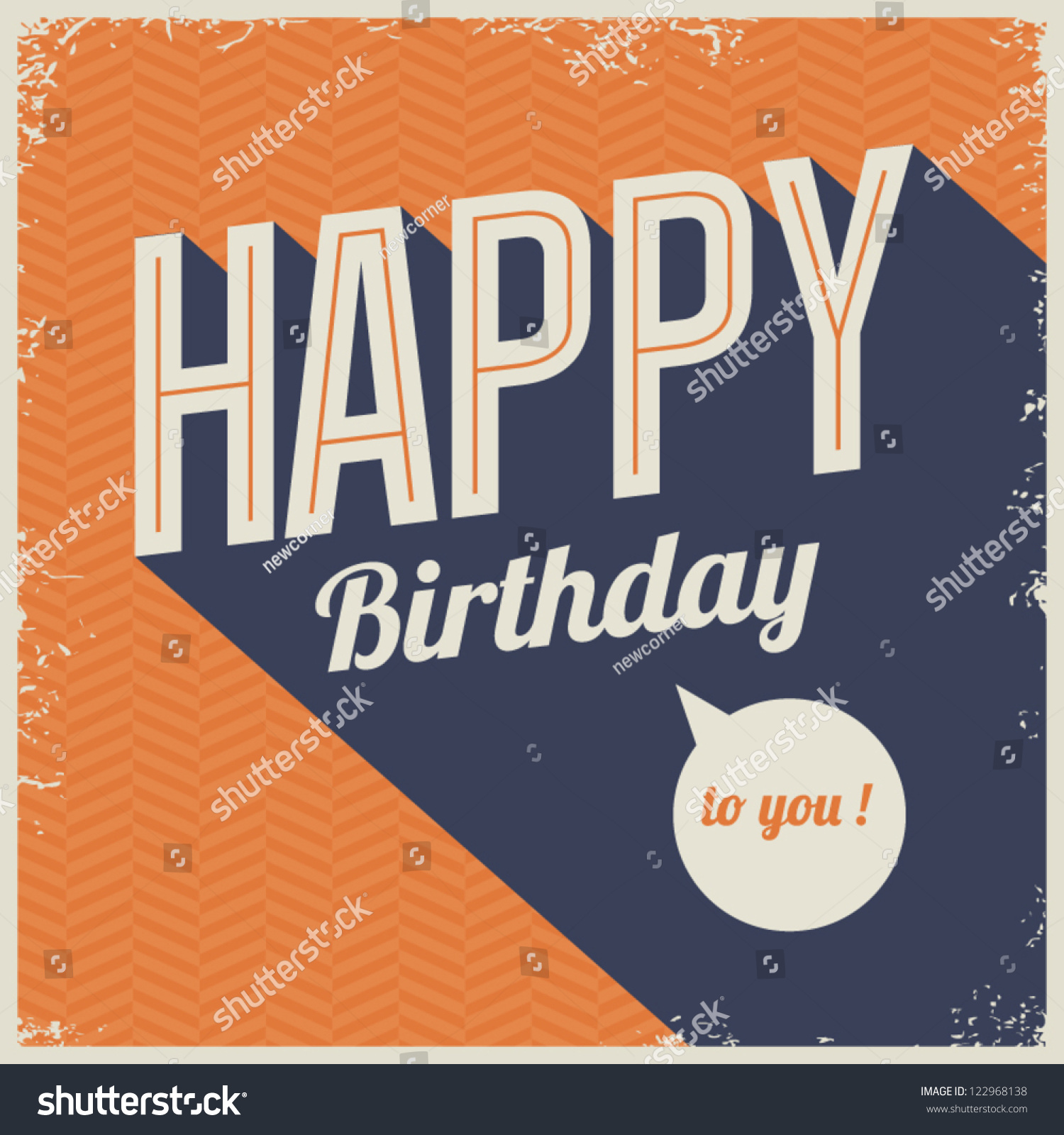 vintage retro happy birthday card fonts stock vector, Birthday card