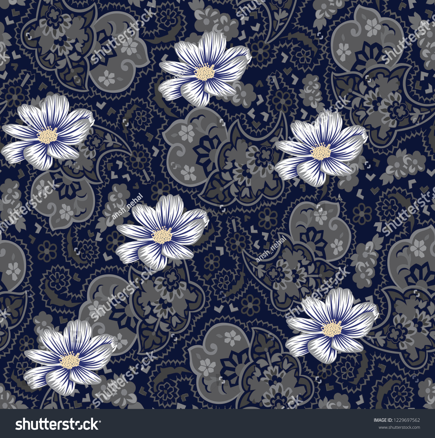 Floral Wallpaper Pattern Design On Navy Stock Vector Royalty Free