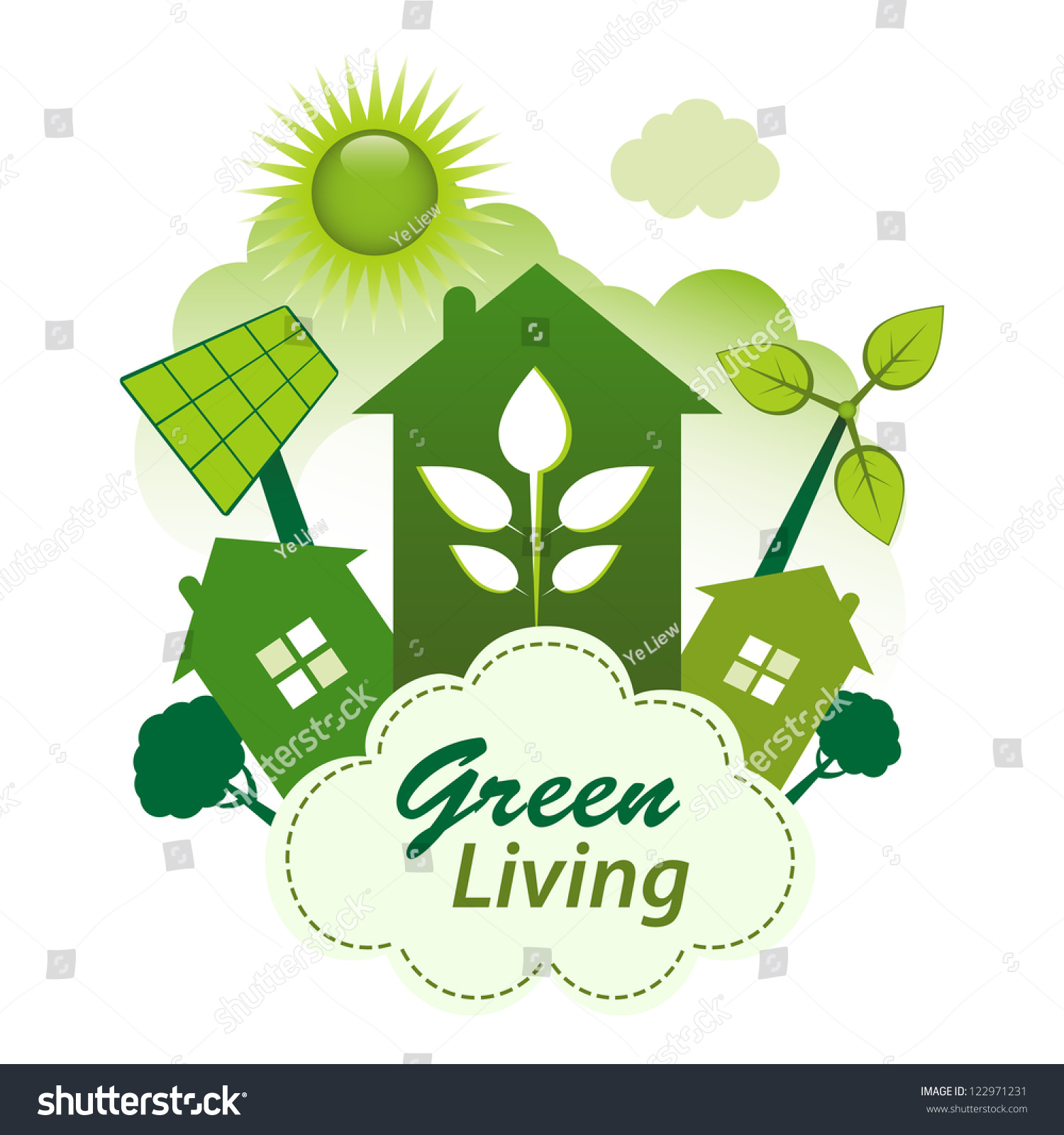 Green Living Concept Green Housing Community On A Cloud