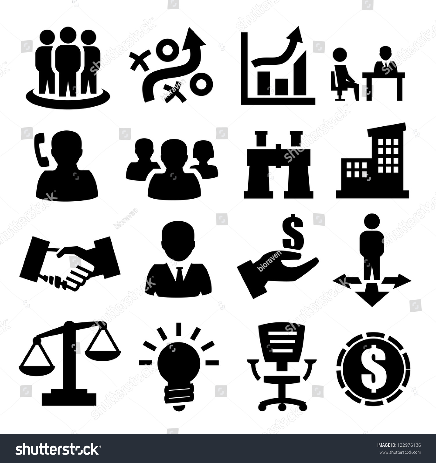 Vector Black Business Icons Set On Stock Vector 122976136 ...