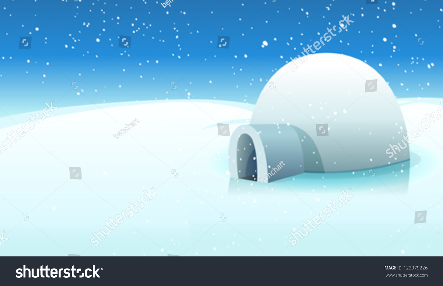 Igloo Polar Icy Background Illustration Cartoon Stock