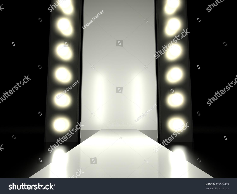 Empty Fashion Runway Illuminated By Glowing Stock