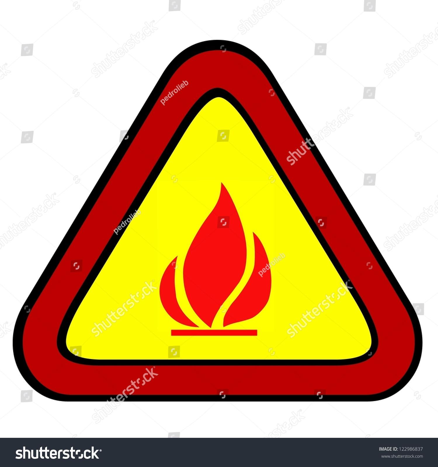 Flammable fire hazard warning symbol on stock illustration flammable fire hazard warning symbol on yellow triangular sign biocorpaavc Gallery