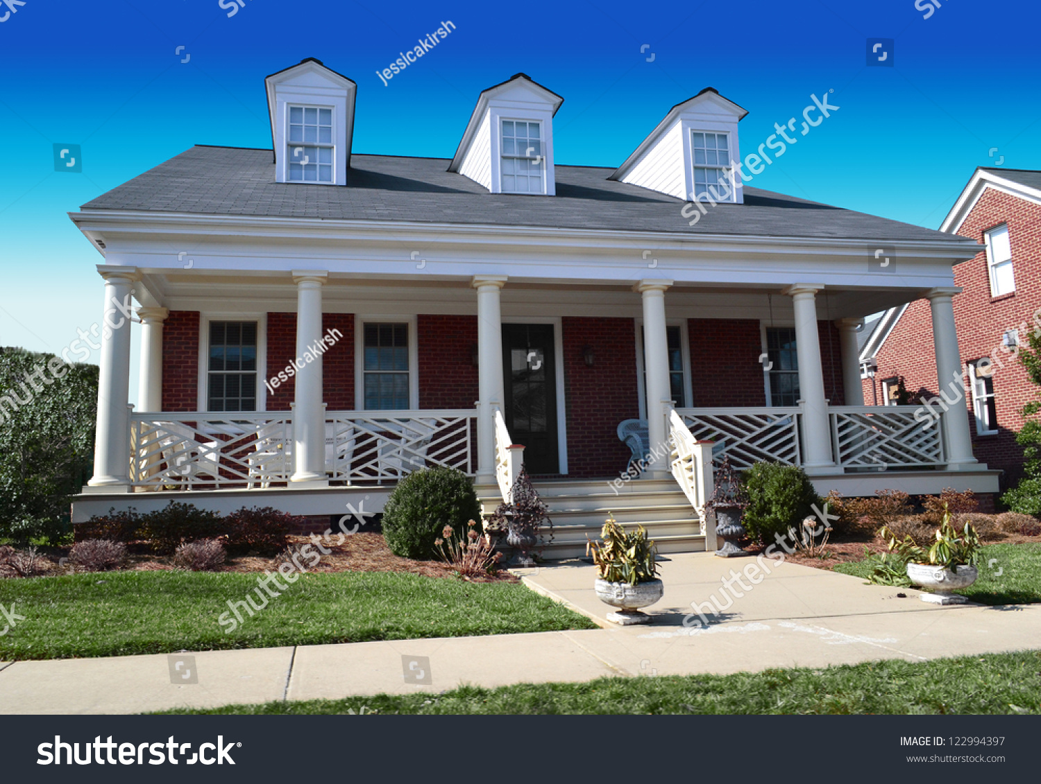 Red Brick Cape Cod American Dream Home With Large Front