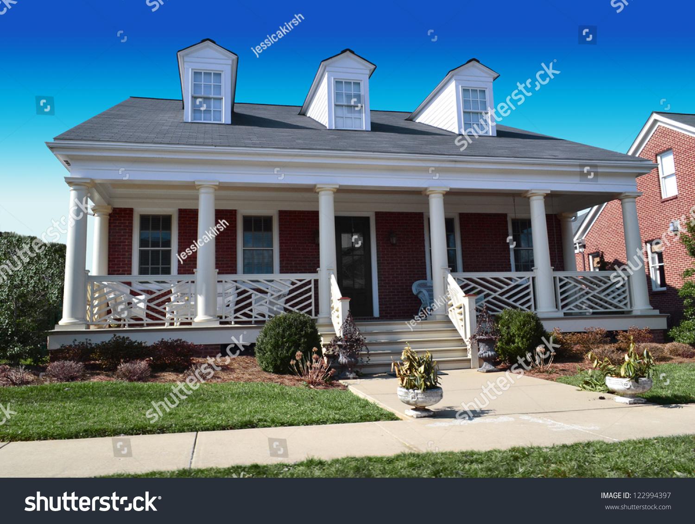 Red Brick Cape Cod American Dream Stock Photo 122994397
