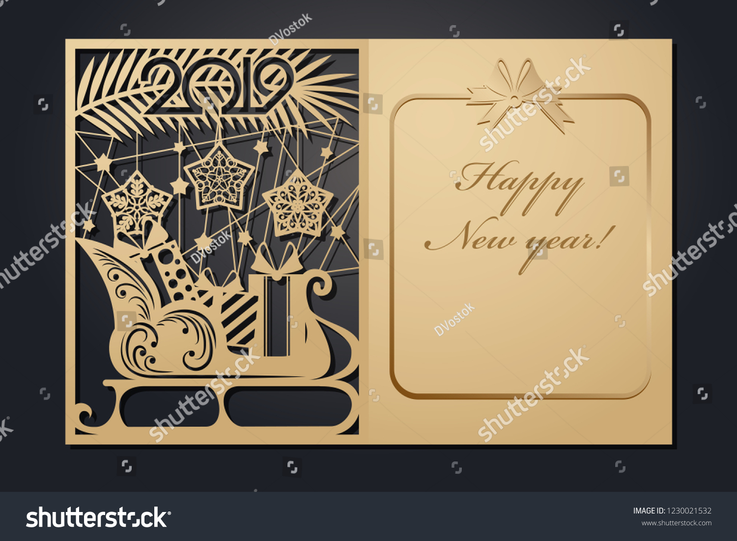 template christmas cards for laser cutting through silhouette new years picture vector illustration