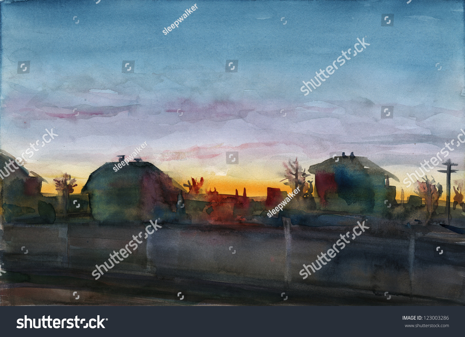City Sunset Watercolor Painting Evening Landscape Urban Street