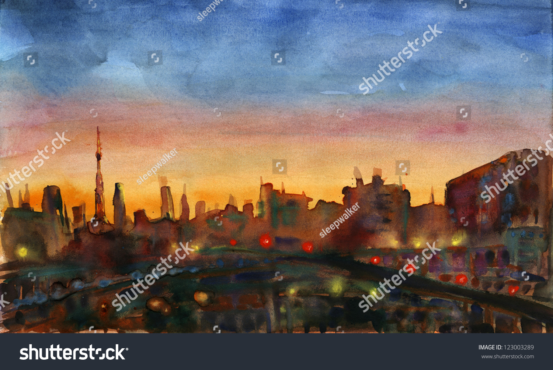 City Sunset Watercolor Painting Evening Landscape Urban Street