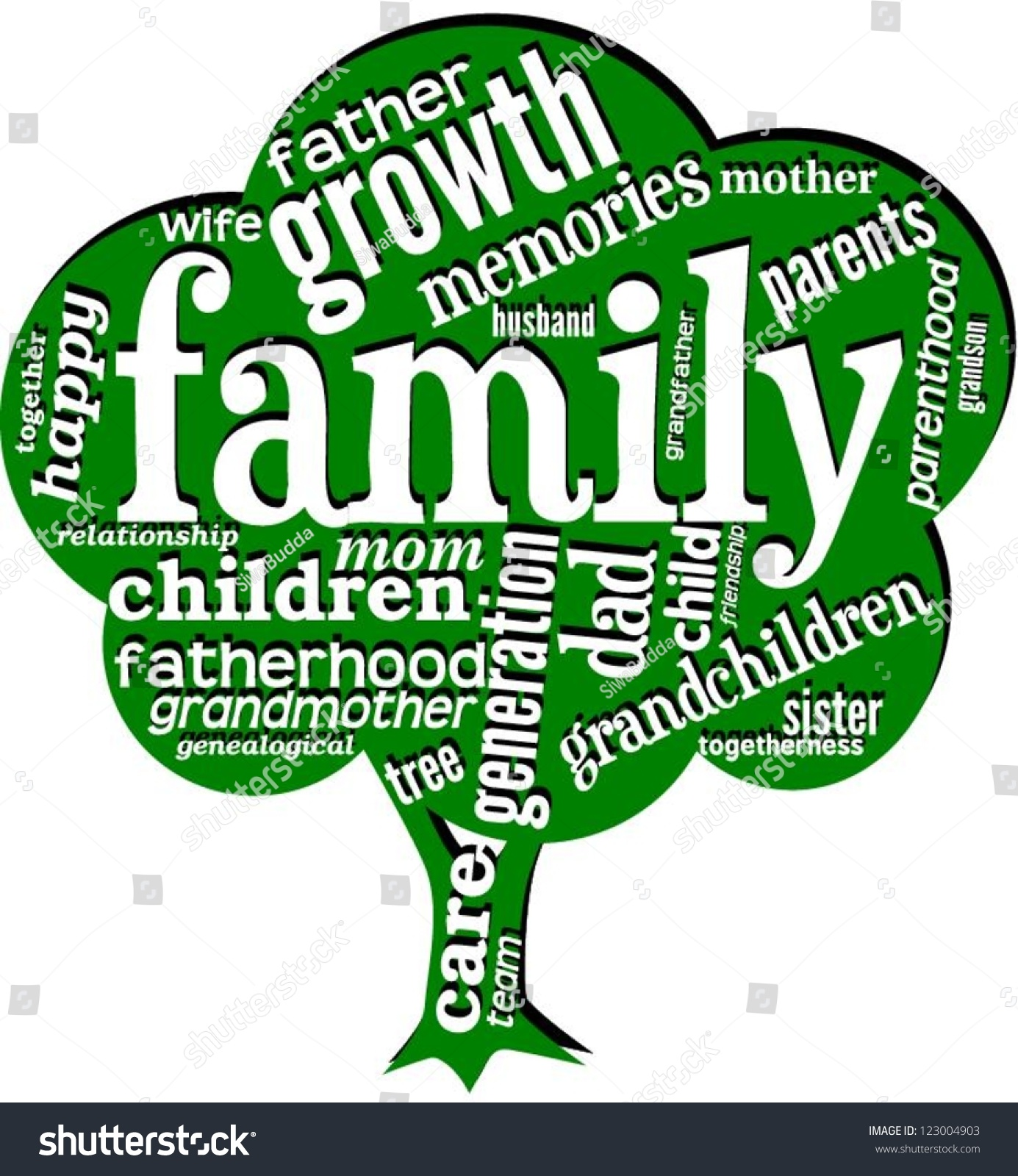 word cloud words related family shape stock vector royalty free