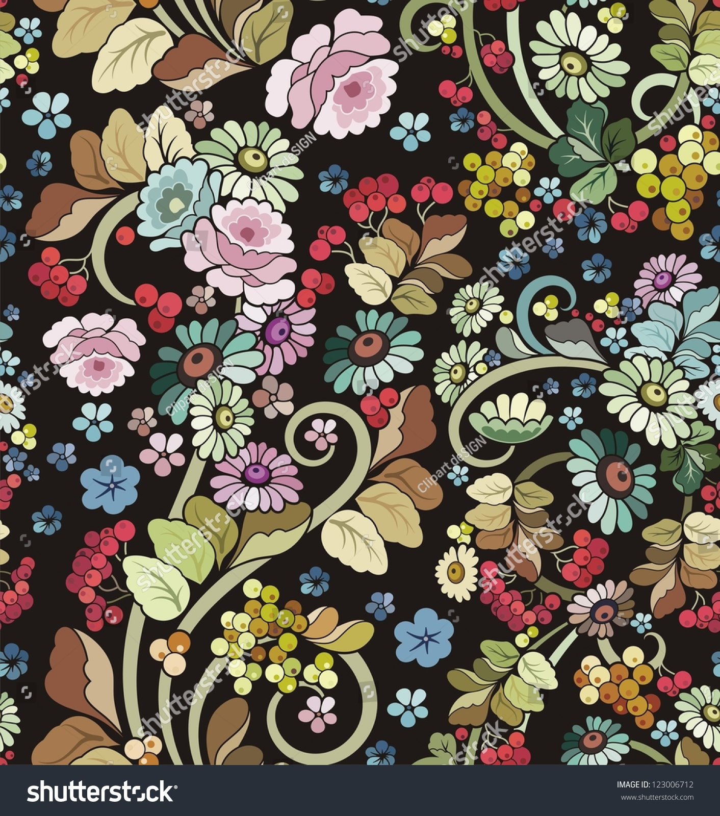 Vector Seamless Ornament Wallpaper Retro Floral Stock Vector