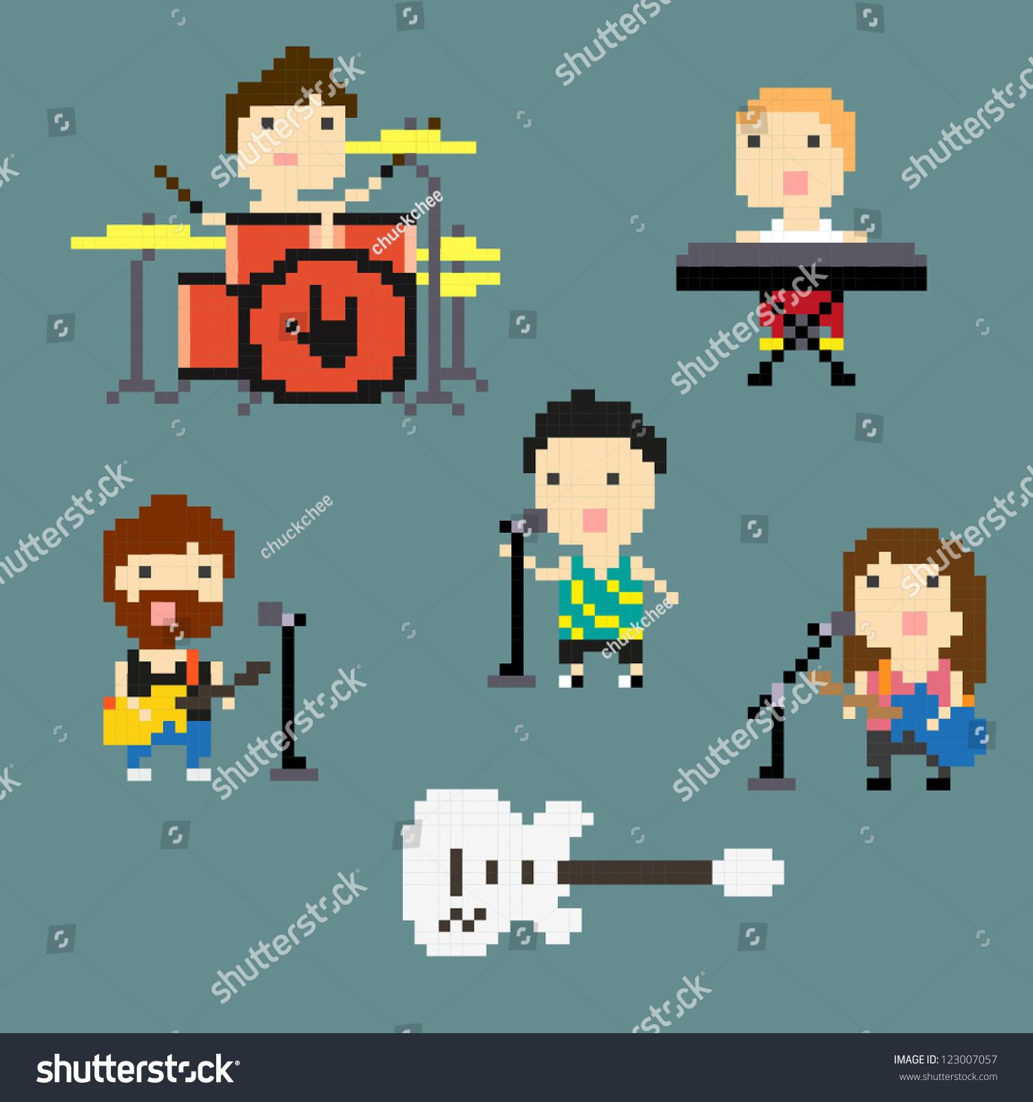 pixel art rock