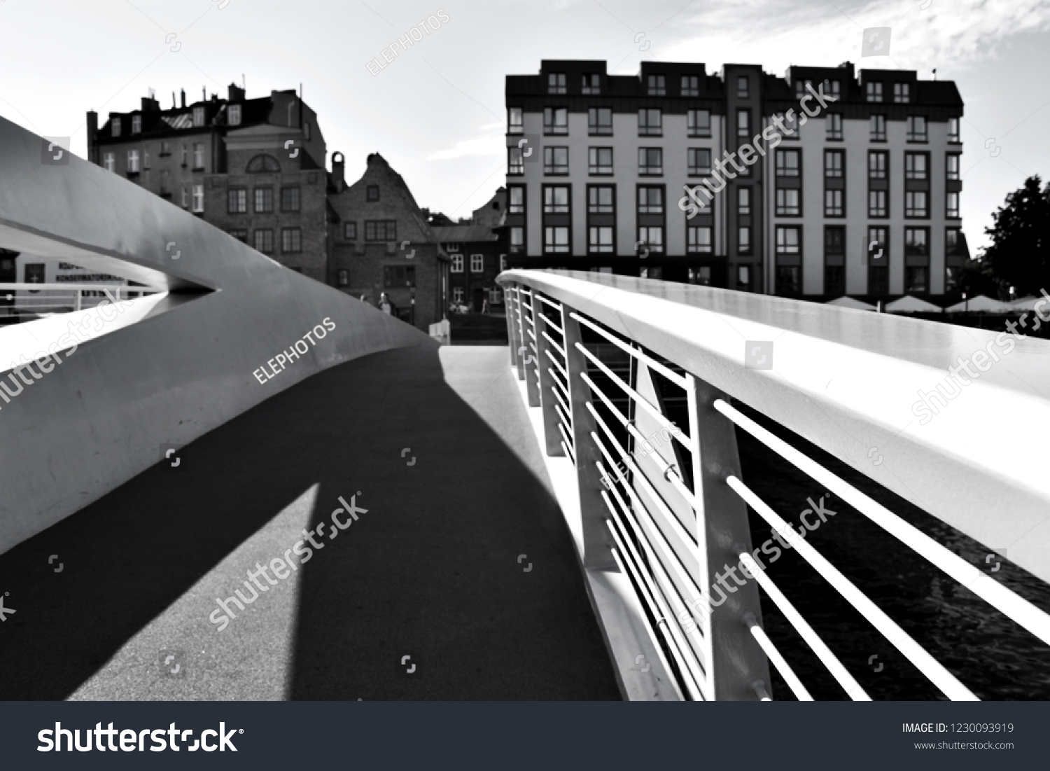 Ołowianka island footbridge in the historical center of gdansk poland black and white blur