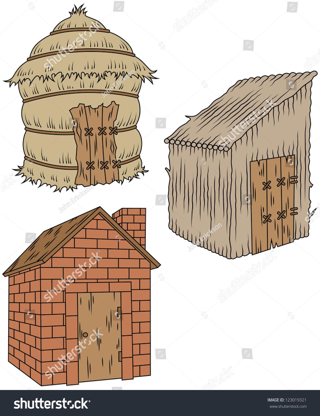3 Pigs Houses Clipart - fedinvestonline