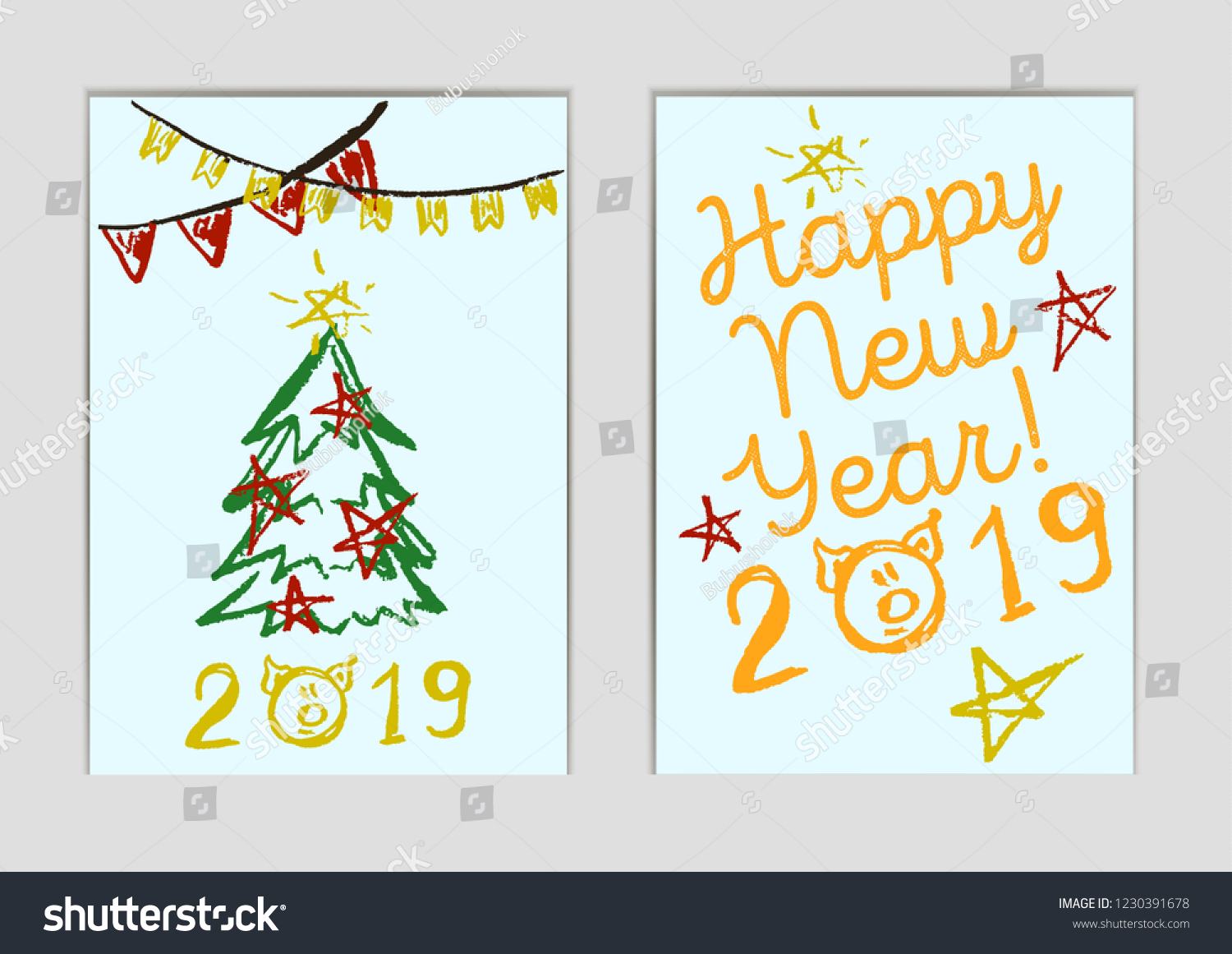Set New Year Greeting Cards Happy Stock Vector Royalty Free